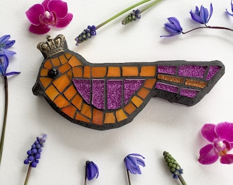 Mosaic Bird with Crown, Orange and Hot Pink