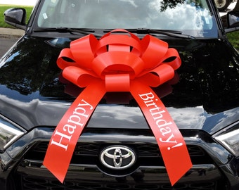 """MEGA BIG CAR BOW for Cars /& XMAS Gifts 16/"""" HOLOGRAPHIC RED MERRY CHRISTMAS"""