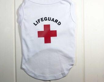 32879a0f1ea6 Lifeguard 1 Dog Tee Shirt in White