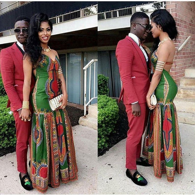 3e489fbd228 Ankara Couples OutfitDashiki Couples Dress for PromAfrican