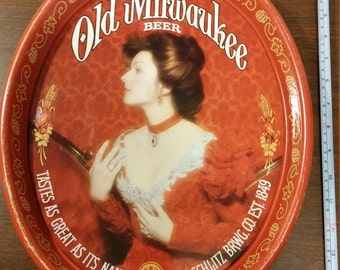 "Vintage Old Milwaukee Beer ""Lady in Red"" Metal Serving Tray made by Schlitz Brewing Co."