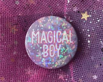 Magical Boy Holographic 38mm Pin Badge - Kawaii, Cute, Rainbow, Glitter, Pastel, Fairy Kei
