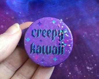 Creepy Kawaii Holographic 38mm Pin Badge | Cute, Glitter, Spooky Season, Halloween, Creepy Cute, Pastel Goth