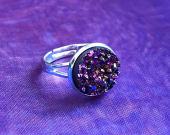 Black Oil Spill Crystal Ring | Gothic, Dainty Ring, Iridescent, Druzy Stone, Stardust, Glitter, Magical, Kawaii, Cute, Silver, Adjustable