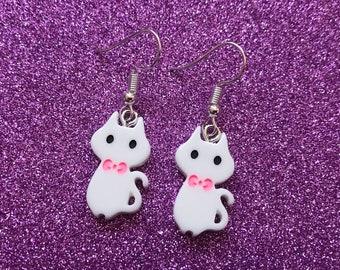 White Kitty Cat Earrings | Cat Jewellery, Dainty Drop Dangle Earrings, Cute, Kawaii, Cat Lover Gift, Cat Lady, Meow, Cat Jewellery