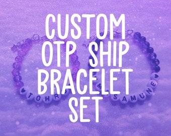 Custom OTP Ship Bracelet Set | Anime, Manga, Video Game, TV Series - One True Pairing, Anime Couple, Best Friends, Fanfiction, Kawaii