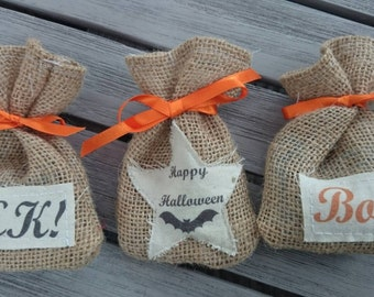 10 x Halloween treat party bags hessian favour gift bags trick or treat sack