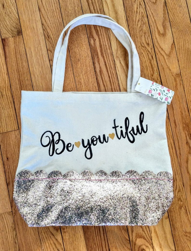 graduation gift college girl gift glitter canvas tote bag positive vibes gift Be you tiful canvas tote bag teen gift