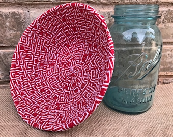 Red and White Fabric Coil Bowl