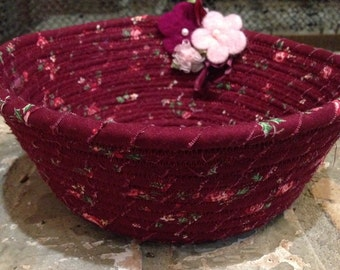 Burgundy and Pink Fabric Coil Bowl