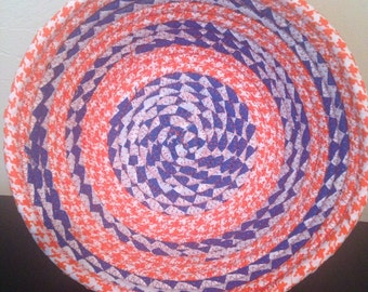 Medium Blue and Orange Fabric Coil Bowl