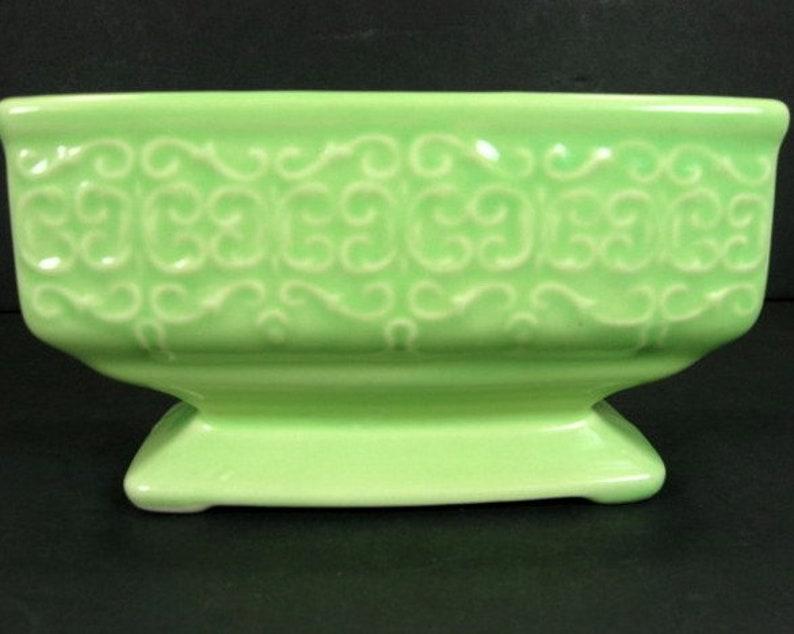 Fredericksburg Art Pottery Company FAPCo Light Chartreuse Green Pedestal Planter Rectangle