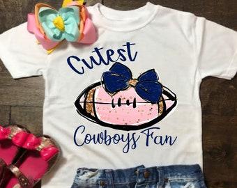 325f75494 Cutest Cowboys fan shirt - Dallas Cowboys inspired shirt - Little girl  cowboys shirt