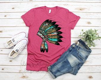 85bda0ba Headdress shirt- Women's HeadDress Shirt - Unisex women's shirt - birthday  gift - women's shirt - Indian Head wear shirt