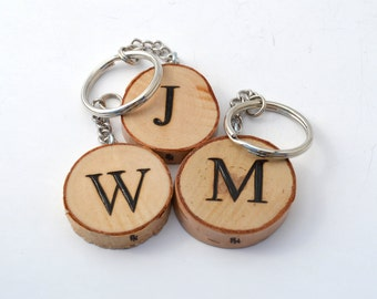 Custom Initial Letter Keychain Wooden Pyrography Wood Burning