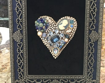 Framed heart made with vintage jewelry