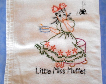 Hand embroidered Little Miss Muffet kitchen tea towel