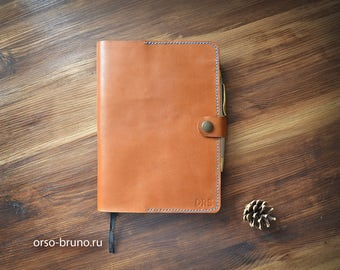 Moleskine cover A5, Journal cover, A5 leather portfolio, Leather notebook case A5, Tan A5 leather holder, Leather notebook cover.
