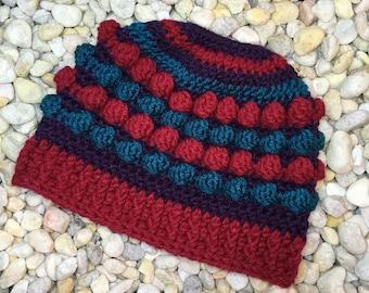 Crochet Pattern Andi Bun Hat, colorwork pom pom bun hat, bobble stitch bun hat crochet pattern