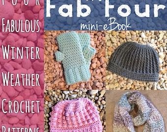 Haute Kippy's Fab Four eBook, crochet pattern ebook, winter weather crochet pattern collection