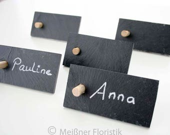 10 place cards slate to set up