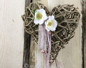 """Door wreath heart """"Green Pink love"""""""