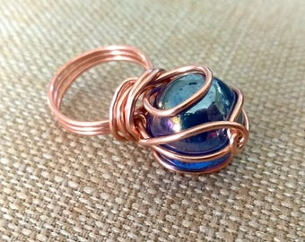 Crystal Ball Copper Ring, Gypsy Fortune Teller, Blue Crystal Ball Jewelry
