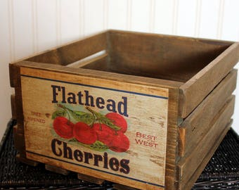 Vintage Fruit Crate Rustic Wood Montana Box Reclaimed Flathead Cherries Farmhouse