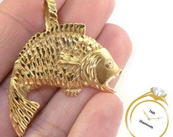 925 Sterling SilverYellow Gold Pompano Fish 3D Pendant