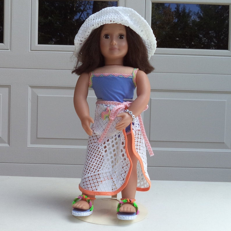 Sarong and White or Dark Blue Floral Sandal Shoes for American Girl 18 Dolls Blue Doll Swimsuit