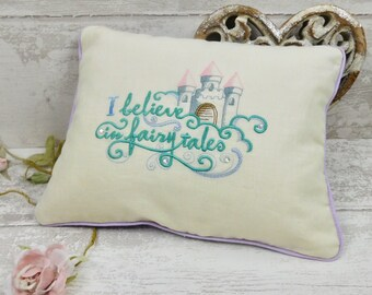 Piped Cushion Cover & Inner. 'I Believe In Fairy Tales' Patchwork Envelope Cushion.