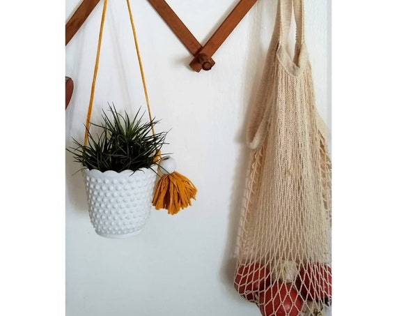 Modern Vintage Hanging Planter/Milk Glass Style Planter/Indoor Planter/Succulent planter/Cactus planter/Retro/hanging plant