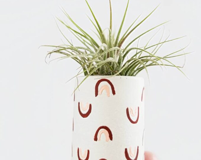 Featured listing image: Arches Mini Planter/Modern Planter/Air Plant Holder/Indoor Office Planter/Succulent/Mini Planter/Midcentury Modern/Rainbow/blush pink
