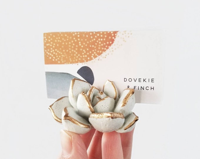 Featured listing image: Made to Order Concrete Succulent Business Card Holder/Cactus Decor/Modern Office Decor/place card/Boss gift/Desk Decor/cardholder