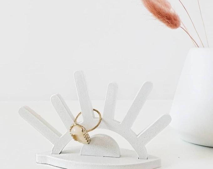 Featured listing image: White Concrete Eye Ring Holder/Sun Ring Holder