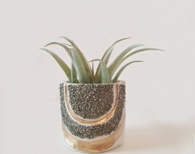 Featured listing image: Pyrite gemstone rainbow planter/Pyrite Planter/Gemstone Planter