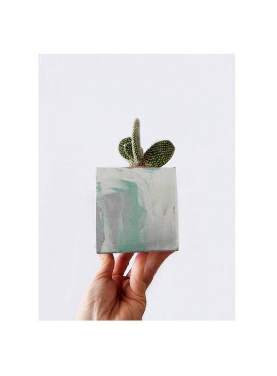 Modern Cube Planter/Succulent Planter/Desk Planter/Concrete Home Decor/Geometic Decor/Minimalist/Square Planter/Cactus Planter/Abstract art/