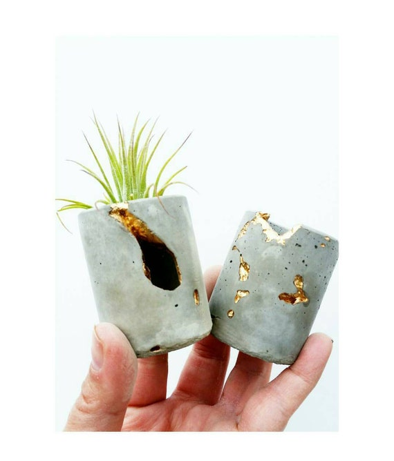 Concrete Gold Leafing Mini Planter, Air Planter,Modern Metallic planter,Cactus Planter,Cactus Decor, Succulent Planter, Indoor Planter,