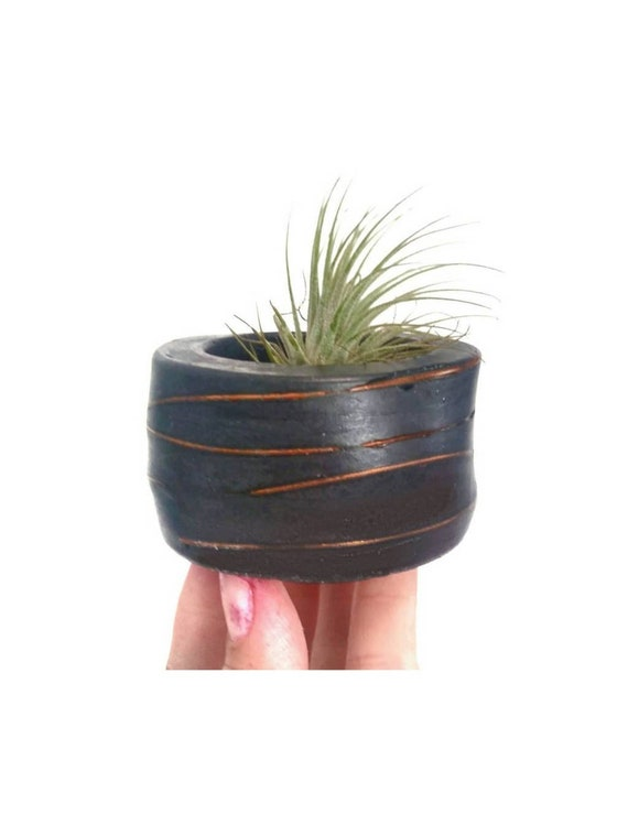 Black Concrete Vessel with Copper/Modern Air Plant Holder/Tea light Holder/Office Planter/Succulent/Indoor Planter/Dorm decor/Minimalist