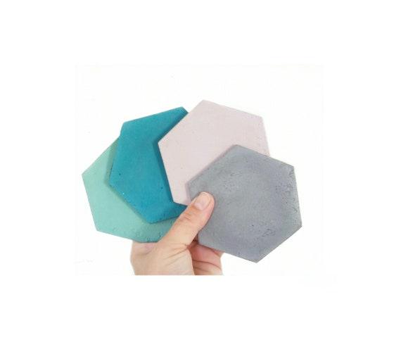 Concrete Hexagon Coasters/Cement Coasters/Geometric decor/New Home Gift/Housewarming Gift/Industrial/Coffee table decor/Minimalist