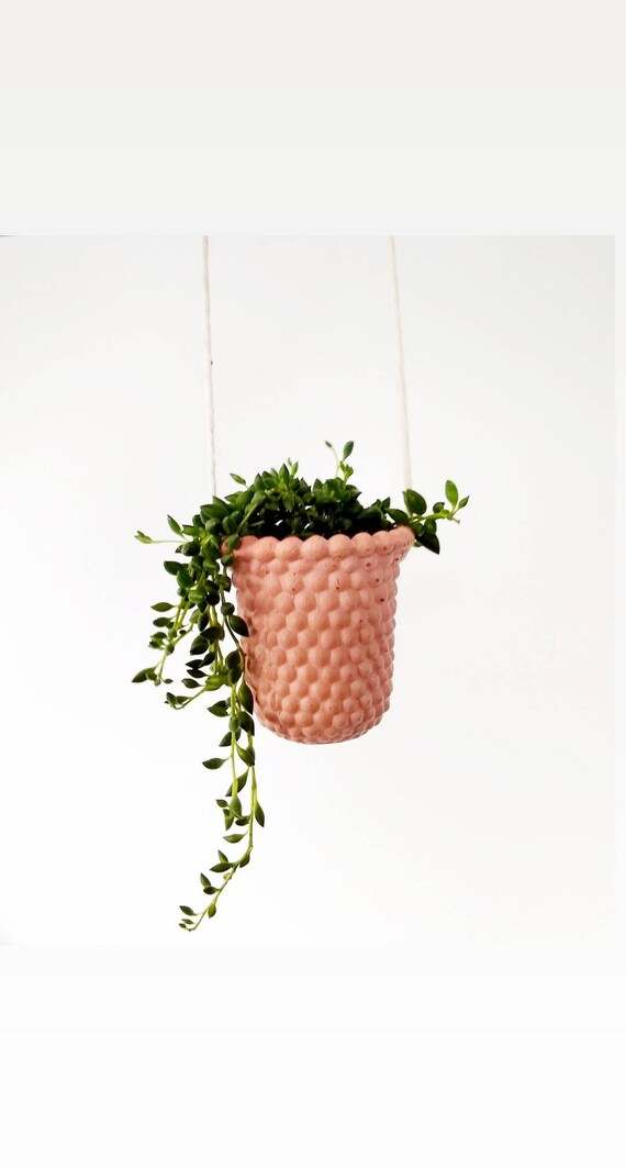Modern Vintage Hanging Planter/Milk Glass Style Planter/Small Indoor Planter/Succulent planter/Cactus planter/Air plant holder/Retro/