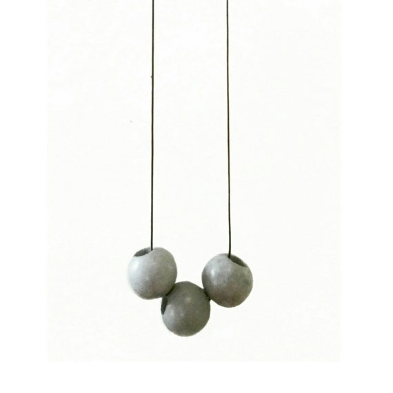 Concrete Cube or Round Bead Necklace, Industrial style, Minimialist Jewelry,  Modern Necklace