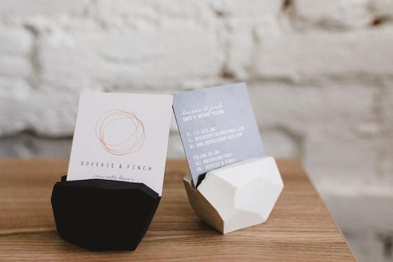 Concrete Gemstone Business Card Holder/Modern Office Decor/place card /Boss gift/Desk Decor/wedding decor/Business cardholder/new job gift