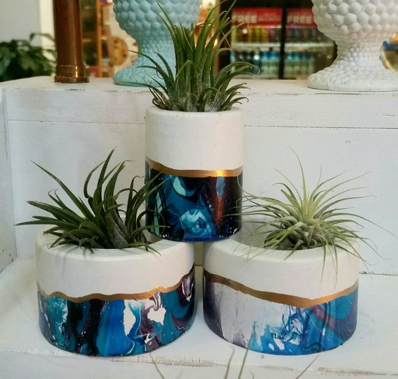 Concrete Galaxy Mini Planter,Air Plant Holder, Modern Metallic planter,Succulent Planter, Indoor Planter, Desk planter, blue decor
