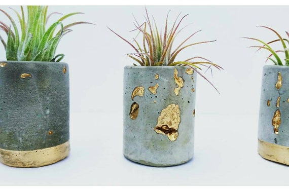 Concrete Gold Leafing Mini Planter,Air Plant Holder, Modern Metallic planter, Succulent Planter, Indoor Planter,Concrete Home Decor