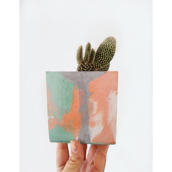 Modern Cube Planter/Succulent Planter/Desk Planter/Concrete Home Decor/Geometic Decor/Minimalist/Square Planter/Cactus Planter/Abstract art/