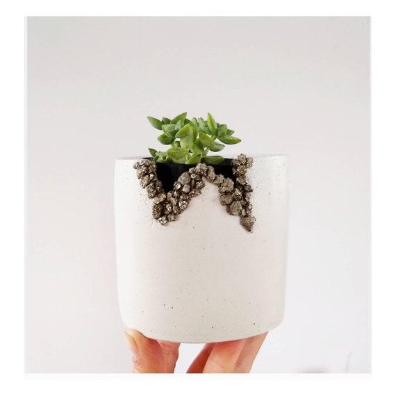 White Concrete & Pyrite Planter/Modern Planter/Industrial/Office Planter/Succulent Planter/ Indoor Planter/gem stone/Minimalist/drusy agate