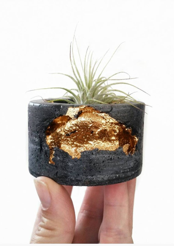 Black Concrete Air Plant Holder,Modern planter,Cactus Planter,Air Plant,Ring Dish,Desk Planter, candle holder, Metallic planter,Mini Planter