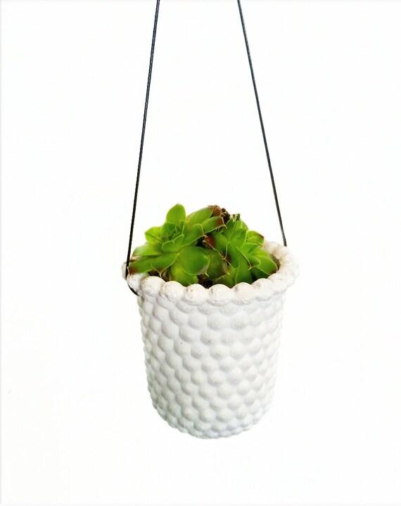 Modern Vintage Hanging Planter/Milk Glass Style Planter/Small Indoor Planter/Succulent planter/Cactus planter/Air planter/Retro/