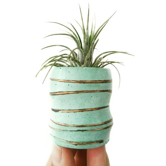 Mint Concrete Planter/Modern Planter/Mini Air Plant Holder/Office Planter/Succulent Planter/ Indoor Planter/Mint green/Dorm decor/Minimalist
